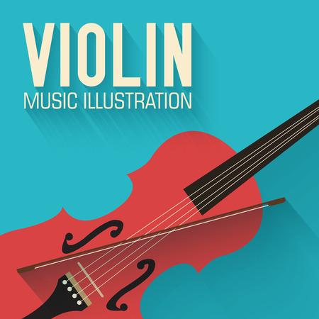 orquesta: guitarra plana violín concepto de vectores de fondo