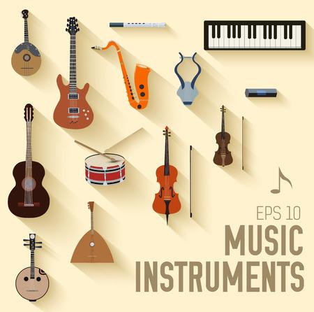 musical: flat music instruments background concept. Vector illustrator Illustration