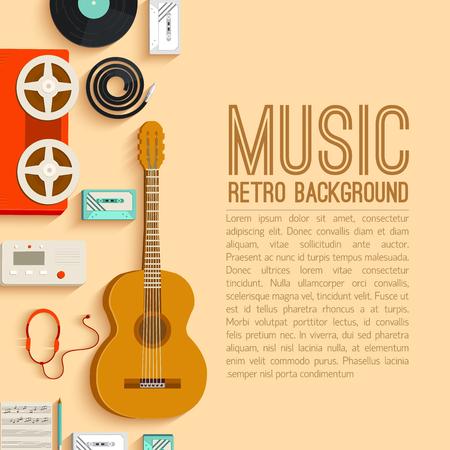 instruments: flat music instruments background concept. Vector illustrator Illustration