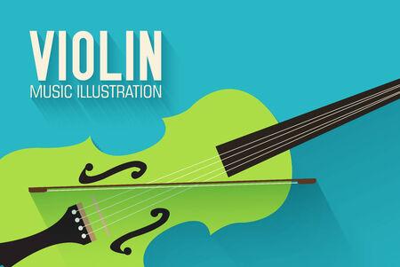 instruments: flat violin guitar vector background concept
