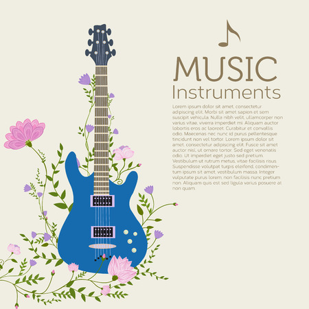 flat music instruments background concept. Vector illustrator Vector