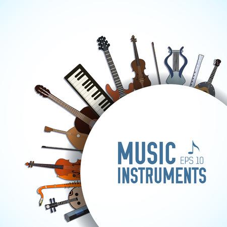 notas musica: instrumentos musicales planas fondo de concepto. Vector ilustrador
