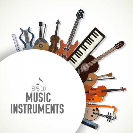 flat music instruments background concept. Vector illustrator Ilustração