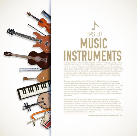 musical symbol: flat music instruments background concept. Vector illustrator Illustration
