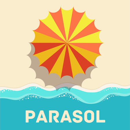 beach umbrella: retro flat parasol icon concept. vector illustration design