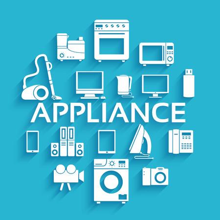 Flat modern kitchen appliances set icons concept Vector