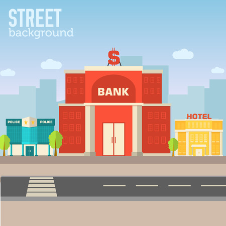 mobile banking: bank building in city space with road on flat syle background