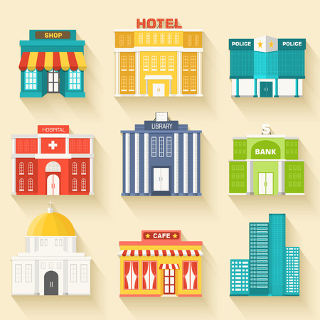 シティー建物アイコンの平らなカラフルなベクトルの背景