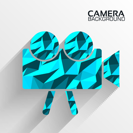Polygonal camera blue vector background concept Vector