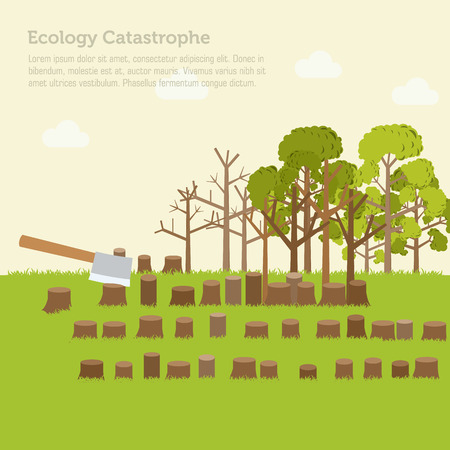 rings on a tree: issue deforestation illustration design background Illustration