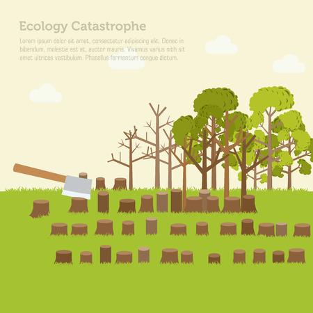 cut grass: issue deforestation illustration design background Illustration