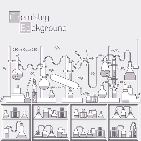 laboratory equipment: Thin lines outline experiments in a chemistry laboratory