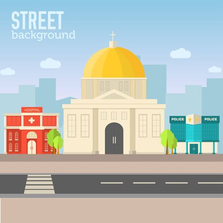 apartment bell: church building in city space with road on flat syle background