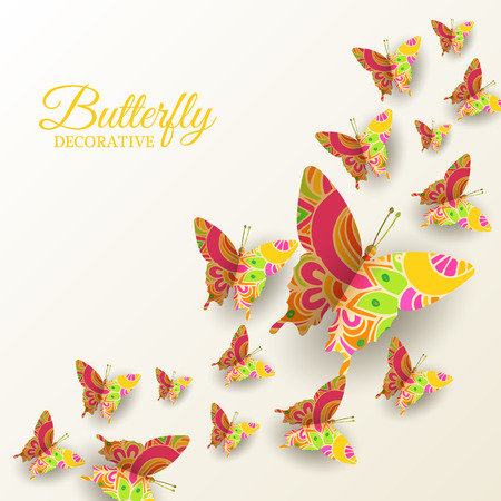 art: beautiful colorful butterfly background concept