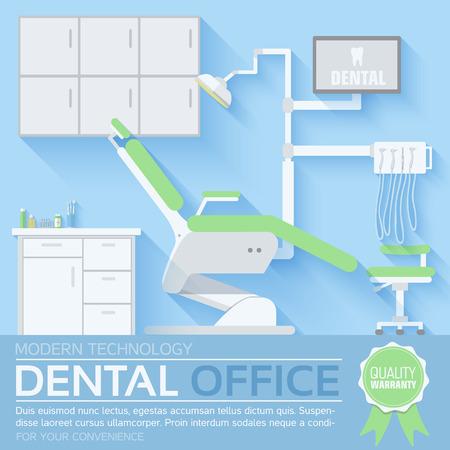 sillon: dentista plana ilustraci�n oficina de dise�o de fondo