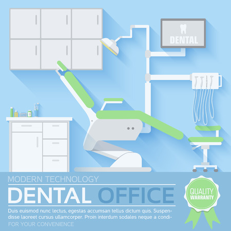 chair: flat dentist office illustration design background Illustration