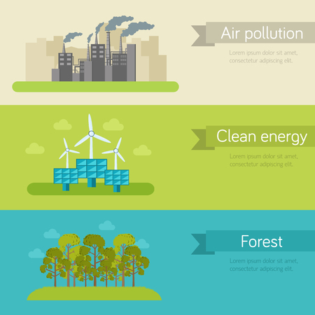 purification: ecological horizontal banners vector illustration concept