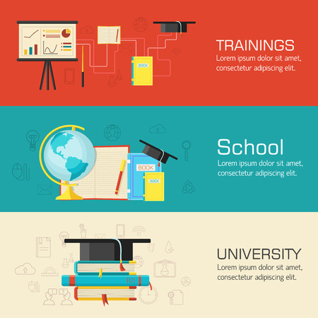 Education distance, online and academic school variations concep Illustration