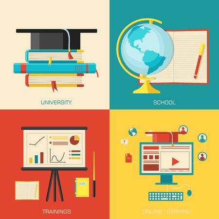 Education distance, online and academic school variations Vector