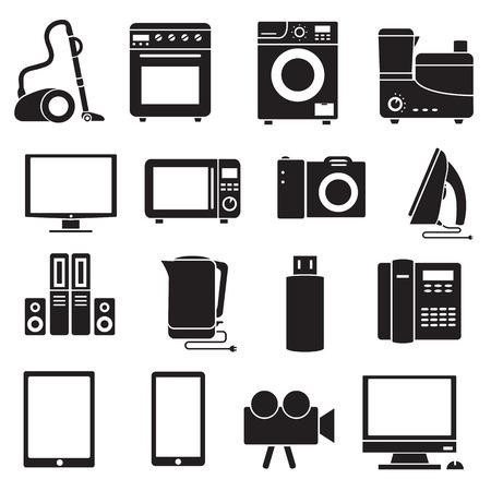 modern kitchen: Flat modern kitchen appliances set icons concept