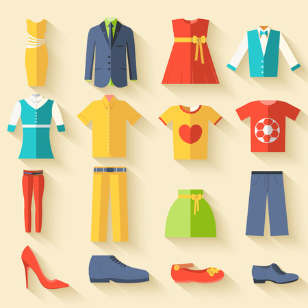 fashion set: collection style fashion clothing for people icon set background Illustration