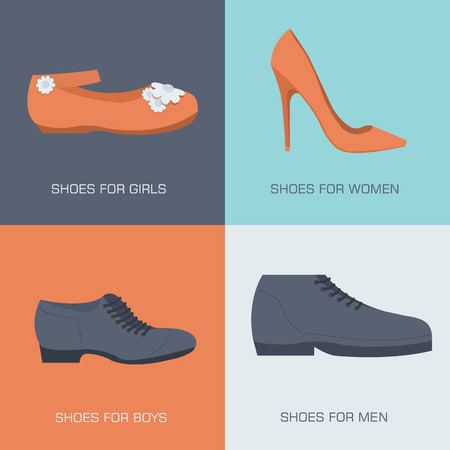 fashion shoes for family on flat style. Vector illustration conc 向量圖像