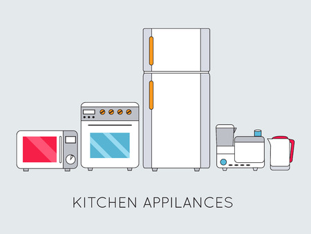 Flat modern kitchen appliances background concept Vector