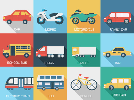 Flat cars concept set icon backgrounds illustration Vector
