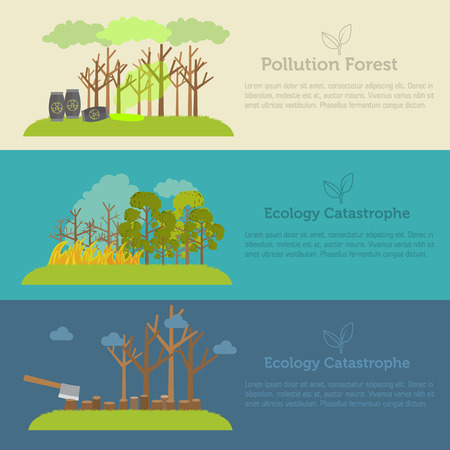 deforestation: Nature issue deforestation, fire tree and pollution banner style Illustration