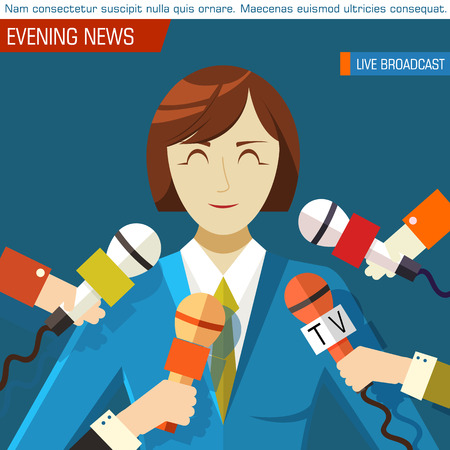 popularity: Flat interviewed on television news programs background concept Illustration