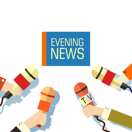 newscast: Flat interviewed on television news programs background concept Illustration