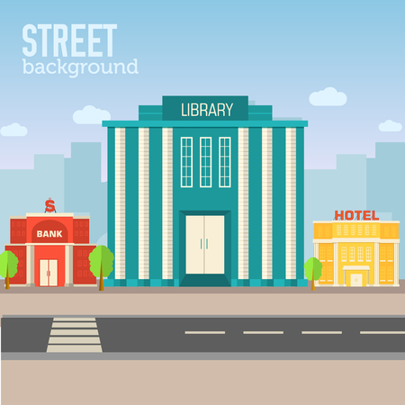 library building in city space with road on flat