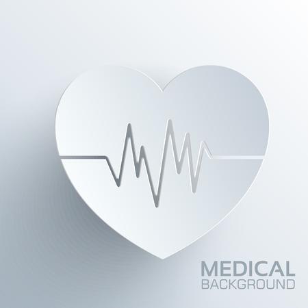 absract art: paper medical heart vector background Illustration