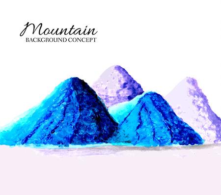 mountains painted oils background concept. Vector illustration d