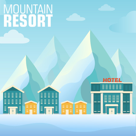 snowy mountain: flat resort mountain concept backgrounds Illustration