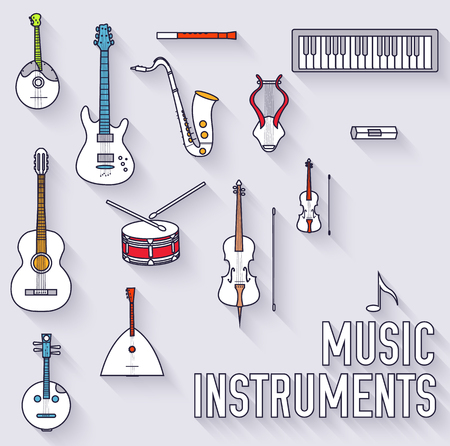 instruments: Thin lines outline music instruments icons pictograms