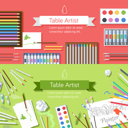 flat art painter workshop with paint supplies equipment tools ba