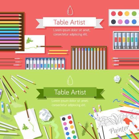 paleta: plana taller de pintor de arte con herramientas equipos suministros de pintura ba