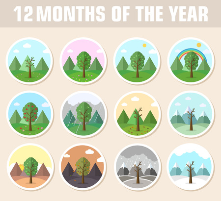 orchard: season icon set of nature tree background illustration Illustration