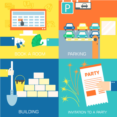 selling house: set of flat communication concepts. Vector background design in retro style Illustration