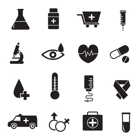 flat medical equipment set icons concept  illustration Vector