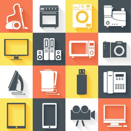 Flat modern kitchen appliances set icons  illustration Vector