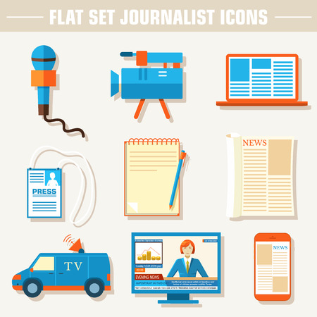 Flat set of equipment for journalism background concept illustration Vector