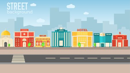 sity: Flat colorful vector sity buildings set illustration