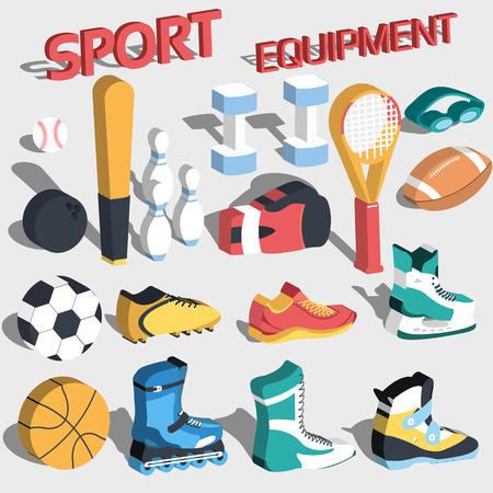 rollerblades: 3d perspective flat sport equipment vector background illustration