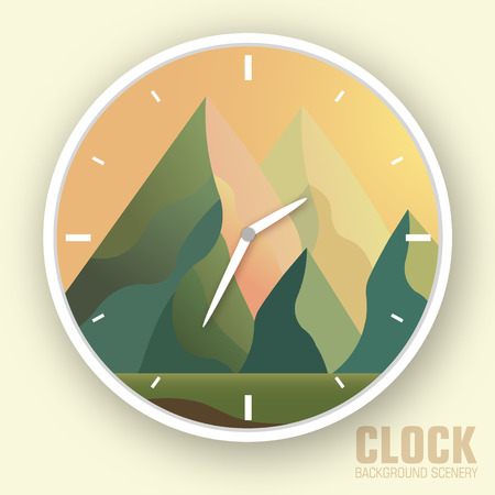 overlook: Flat colorful vector nature mountain clock illustration