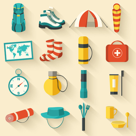 medical headwear: Flat sticker colorful vector tourist equipment icons illustration
