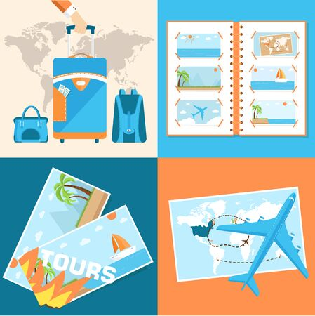 tour of the world tourism with fast travel  illustration Vector