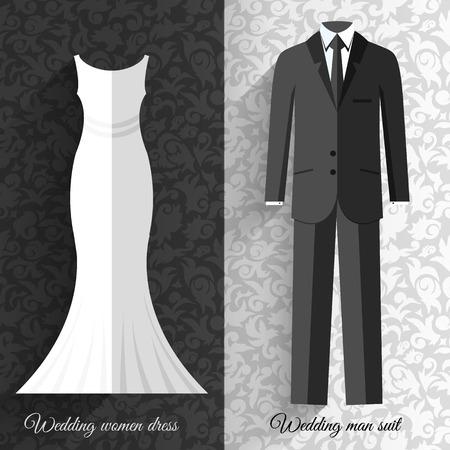 fiancee: wedding beautiful suits clothing ornamental style card icon set background