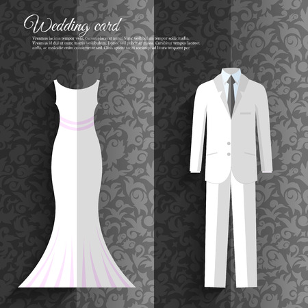 rich couple: wedding beautiful suits clothing ornamental style card  illustration